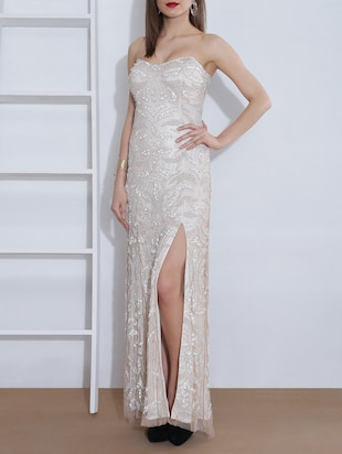 cream polymesh sequined dress