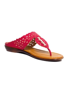 red leatherette toe seperators sandal