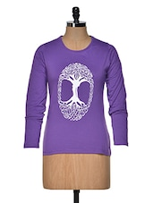 Purple Printed Round-neck Women's  T Shirt - By