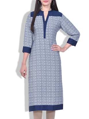 Blue and White Printed Kurta