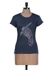 Blue Half Sleeve Crew Neck T-shirt - Aloha