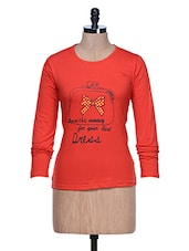 Red Long Sleeve Crew Neck T-shirt - Aloha
