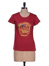 Dark Red Half Sleeve Crew Neck T-Shirt - Aloha