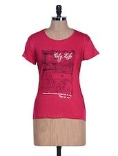 Pink Half Sleeve Crew Neck T-shirt - Aloha