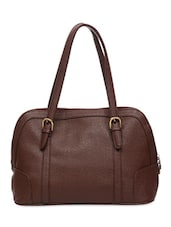 Solid Brown Faux Leather Handbag - By - 9635308
