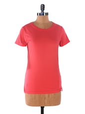 Pink  Crew Neck  Cotton T-shirt - Kapdaclick.com
