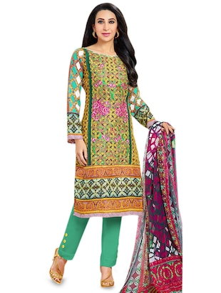 multicolored wool embroidered semi stitched suit set