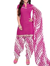 Pink And White Printed Unstitched Suit Set - By