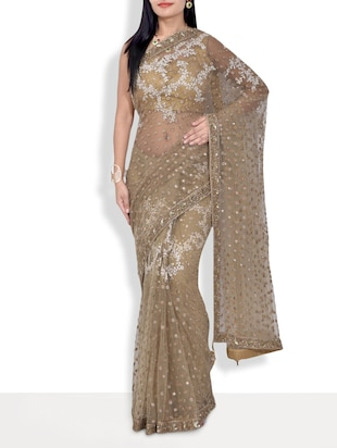 Beige handworked net saree