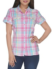 Pink Checkered Short Sleeved Cotton Shirt - By