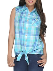 Blue Checkered Cotton Shirt With Front Knot - By