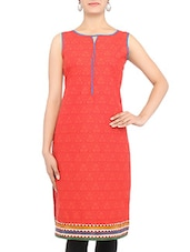 Red Printed Sleeveless Cotton Kurta - By