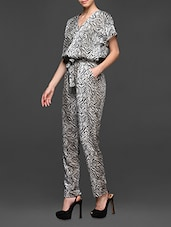 Printed Polyester Short Sleeve Jumpsuit - Miss Chase