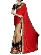 Beige And Red Art Silk Saree - By