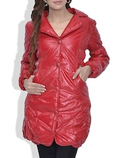 Solid Red Quilted Woolen Jacket - By