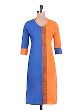 Blue Cotton Kurta With Printed Front Panel - By