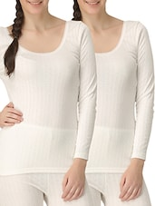 White Thermal Wear Set Of 2 - By
