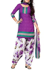Purple Crepe Printed Unstitched Patiala Suit Set - By