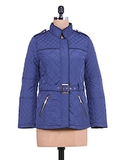 Solid Royal Blue Quilted Full-sleeved Jacket - By