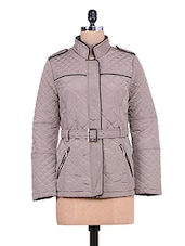Dark Grey Quilted Full-sleeved Jacket - By