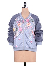 Grey Floral Print Full-sleeved Jacket - By