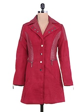 Solid Red Textured Full-sleeved Long Jacket - By