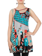 Multicolored Floral Printed Sleeveless Cotton Kurti - By