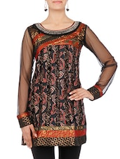 Black Paisley Printed Cotton Kurti - By