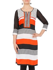 Multicolored Striped Quarter Sleeved Kurta - By