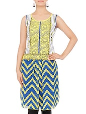 Yellow And Blue Printed Sleeveless Kurta - By