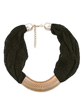 Black And Gold Striated Necklace - By