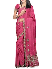 Pink Crepe Embroidered Sari - By