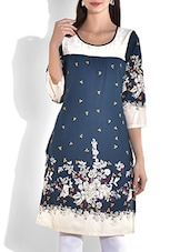 Steel Blue Floral Printed Cotton Kurti - By