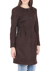 Brown Buttoned Felt Long Coat - By