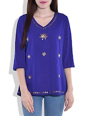 Blue Quarter Sleeved Top With Applique Details - By