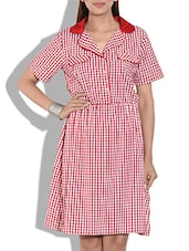 Red N White Checkered Cotton Dress - By