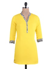 Yellow Rayon Kurta With Printed Neckline And Cuffs - By