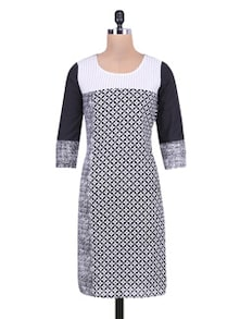 monochrome multi printed cotton kurta