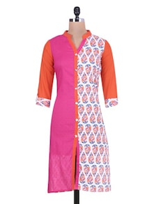 pink and orange printed cotton kurta