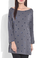 Grey Embellished Boat Neck Knitted Cotton Top - By