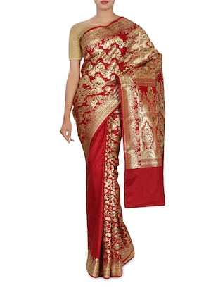 Red Color Silk Blend Banarasi  Saree