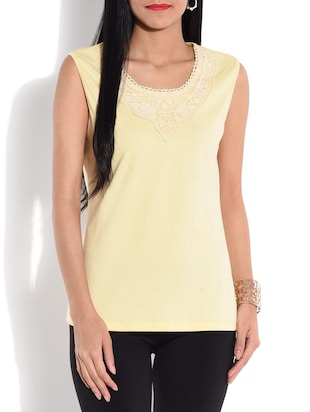 Pale yellow cotton knit top with lace work