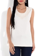 White Cotton Knit Top With Lace Work - By
