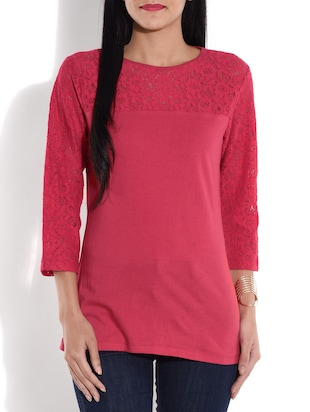 Fuchsia cotton knit top with lace work