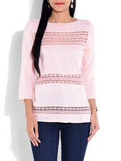 Light Pink Rayon Top With Lace Work - By