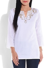 White Embroidered Cotton Top - By