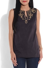 Black Embroidered Cotton Top - By
