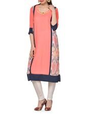 Neon Orange Straight Kurta And Pants Set - Chitwan Mohan