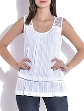 Solid White Bloused Cotton Top - By