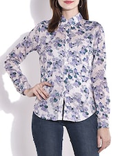 Grey And Dark Blue Printed Cotton Shirt - By
